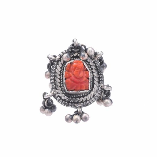 Red Stone Carved Ganesha Pure Silver Ring