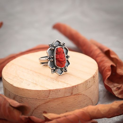 Red Carved Ganesha Silver Ring - 925 Silver Jaipur