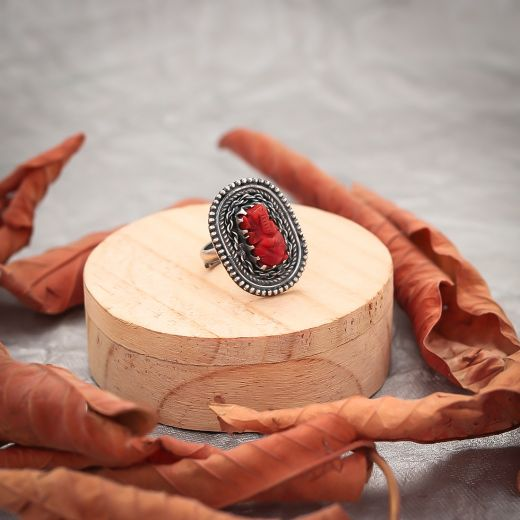 Antique Silver Red Rings