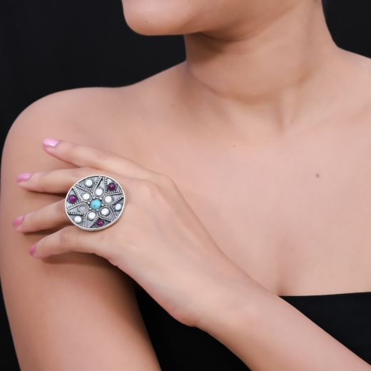 New Traditional Vintage Style Rounded Silver Ring