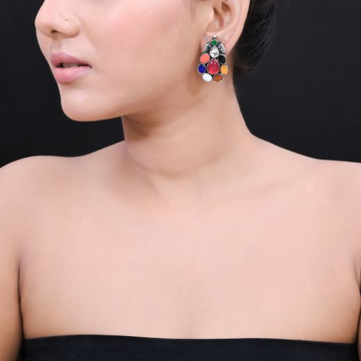 HANDMADE PAAN SHAPE WITH MULTI STONE SILVER STUDS