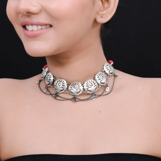 Handcrafted Antique Silver Necklace