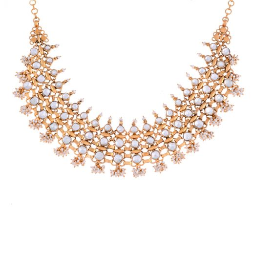 Kundan Necklace In Gold Polish With Pearls