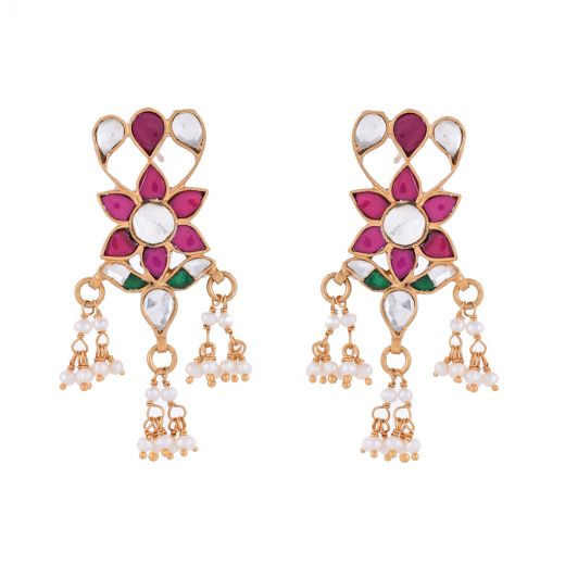 Gold Polished Pearl Silver Earring