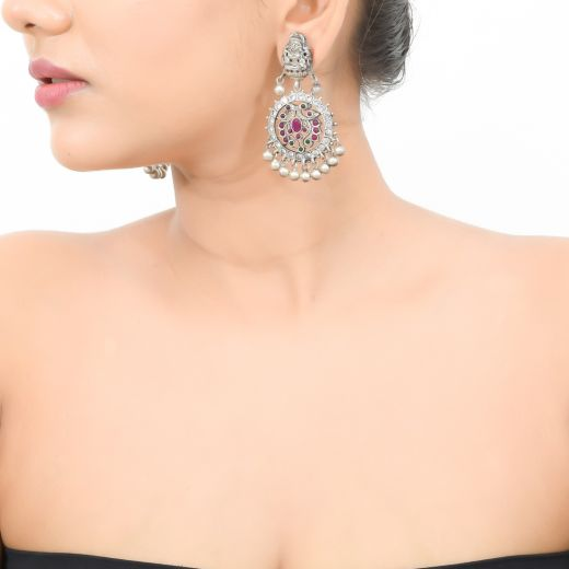 Pure Silver Kemp Stones Temple Earring