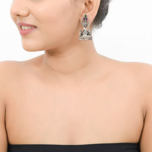 Antique Silver Jhumkas With Stone