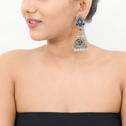 STERLING SILVER LEAF DESIGN FLORAL JHUMKA WITH KEMP STONES & FRESH WATER PEARLS