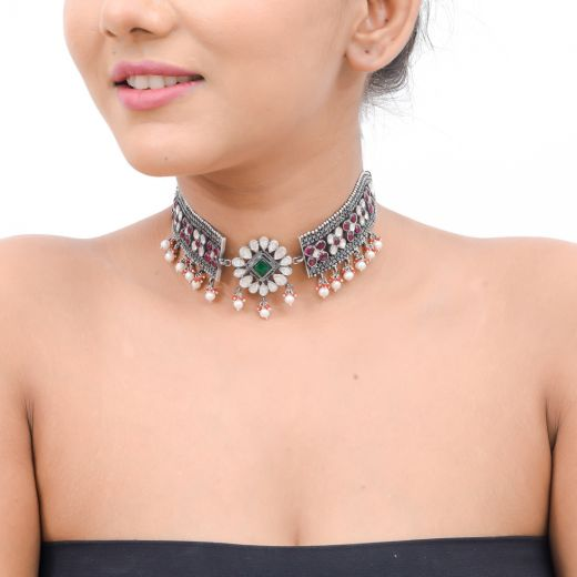 Sterling Silver Stone Choker Necklace