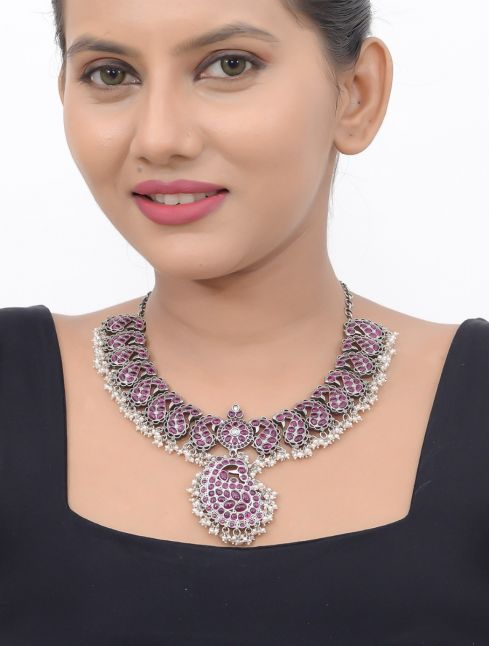 Indian Sterling Silver Stones Necklace