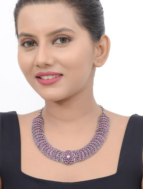 Pure Silver Necklace With Red Kemp Stones