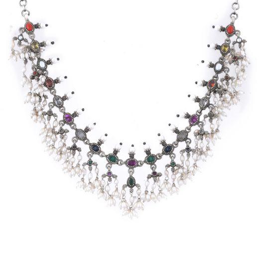 Sterling Silver Navratna Stone Necklace