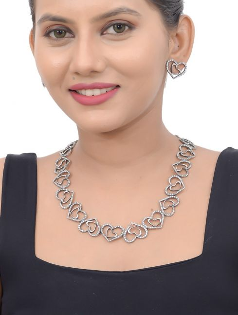 Heart Shaped Sterling Silver Necklace Set