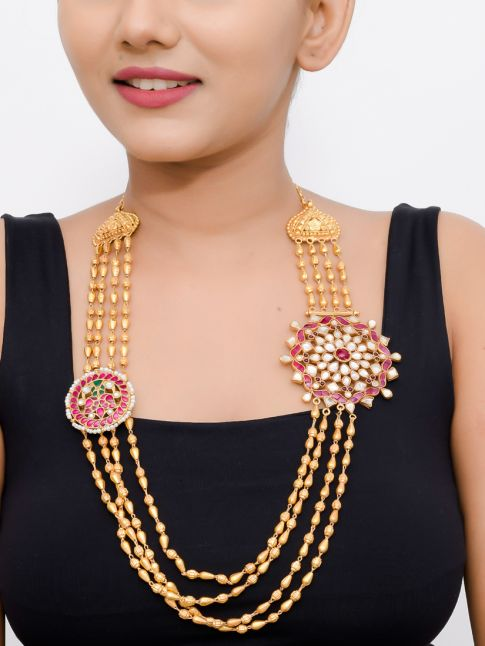 Gold Plated Silver Beads Necklace With Kundan