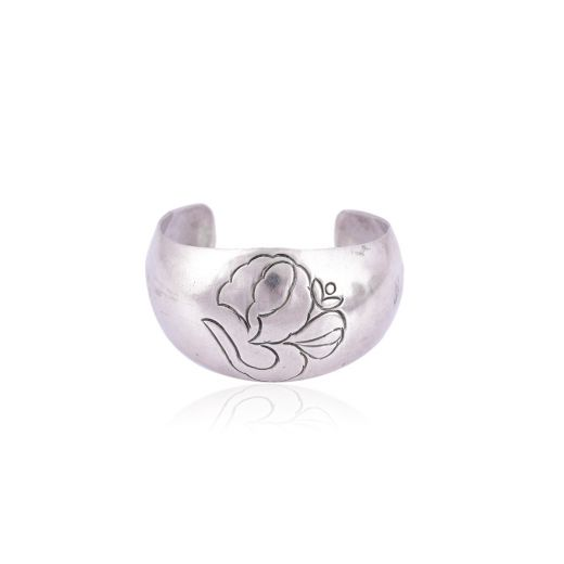 Silver Bangle With Om symbol