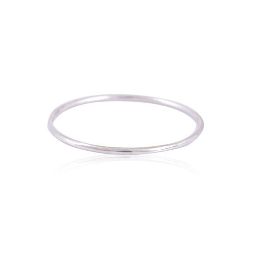 Round plain silver bangle
