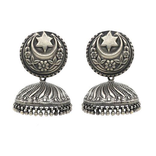 Traditional Star Moon Silver Jhumka