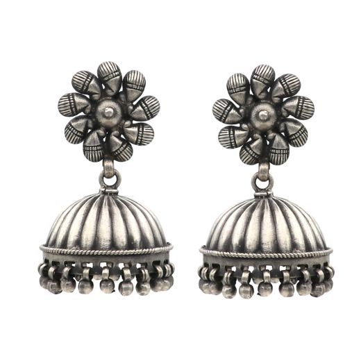 Silver Jhumka With Flower & Cage Shape