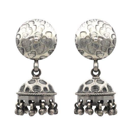 Circle Stone Pattern Silver Jhumka
