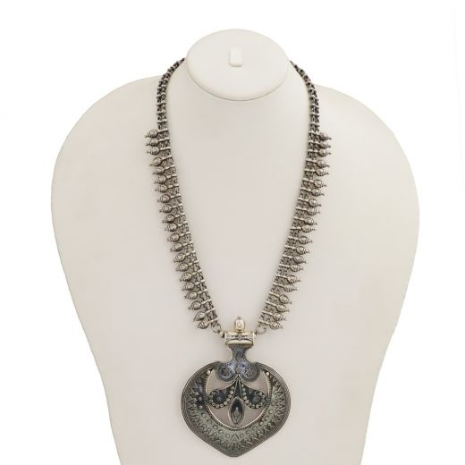 Heartshape Silver Necklace With Oxidised Ghungroo