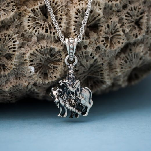 Silver pendant Lord krishna with cow