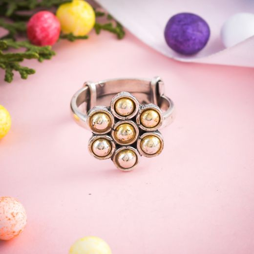 Exquisite Dual Tone Adjustable Silver Rings