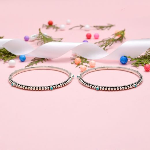 Beautiful Beaded Styled Pure Silver Stones Bangles With Turquoise