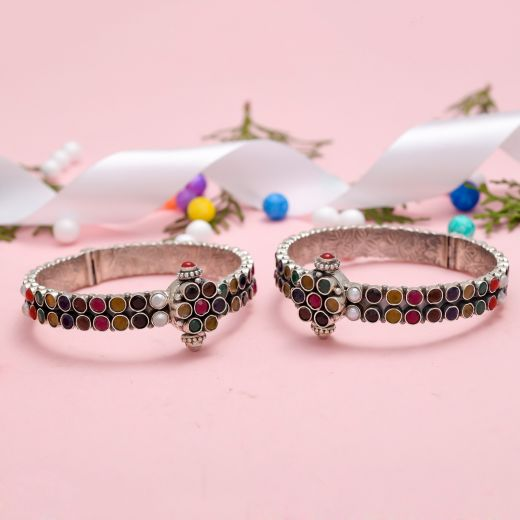 Exclusive Designed Sterling Silver Bangles With Navratna Stones