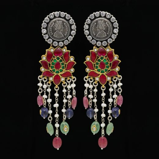 Victoria Coin Silver Earrings  With Multi-Colour Stones