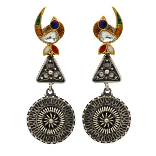 Golden Peacock With Oxidised Silver Earrings