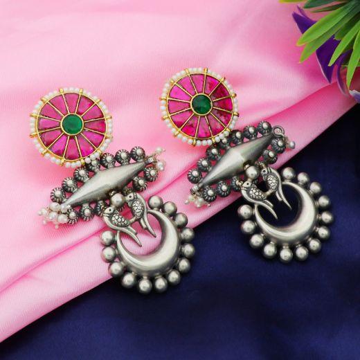 Love Birds On Chand Silver Earrings