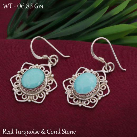 Star Silver Earrings With Sky Blue Gemstone.
