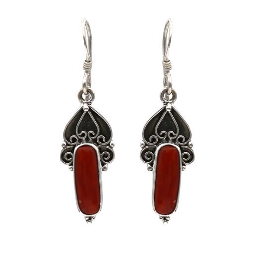 925 Leaf Pattern Silver Earrings With Red Stone.