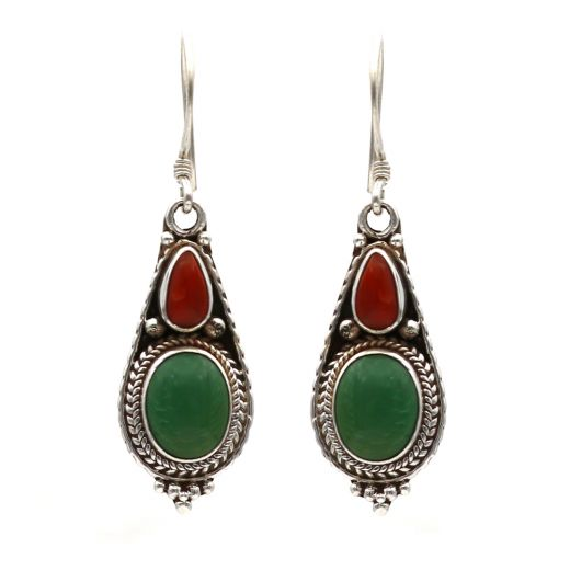Drop Shape Silver Earrings With Red And Green Stone.