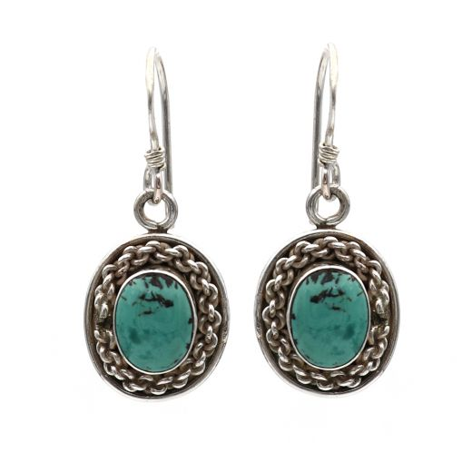 Pendant Design Silver Earrings With Sky Blue Stone.