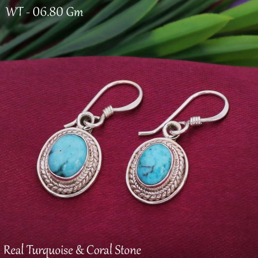 Antique Shape Sterling Silver With Blue Stone.