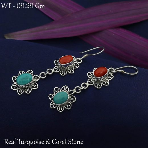 925 Drop Shape Silver Earrings Dangler With Red And Blue Stone