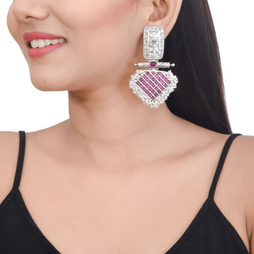 Royal design Sterling silver earrings with pink stone