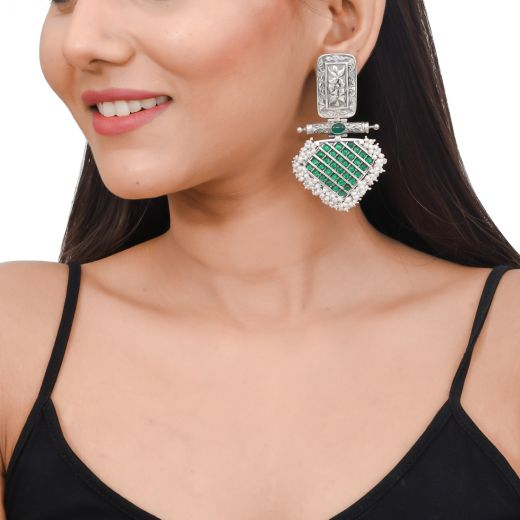 Pure silver earrings with green stone