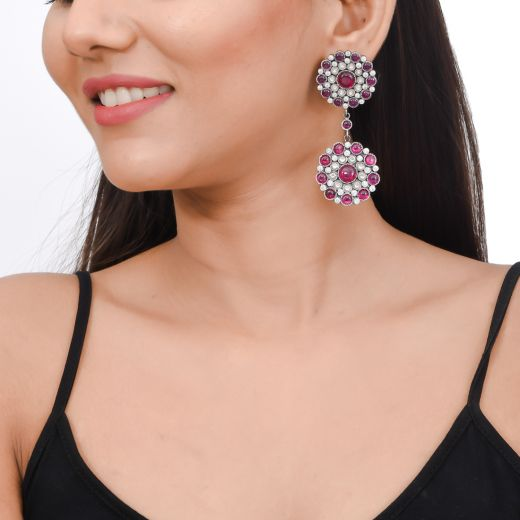 Enticing dual flower level silver earrings with pink stone and zircon
