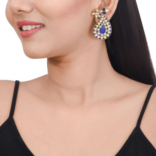 Paisley design gold polish silver earrings With blue stone