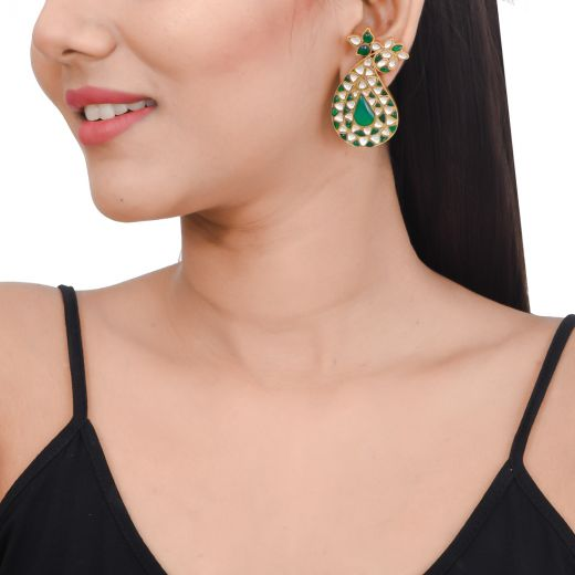 Gold tone paisley design silver earrings with green stone