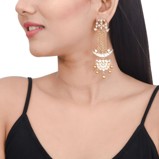 Chandbali silver earrings in gold tone with white stone