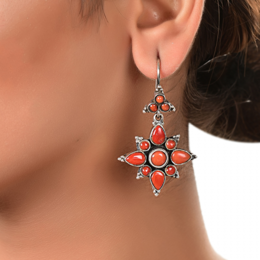 Oxidised silver earrings with red stone