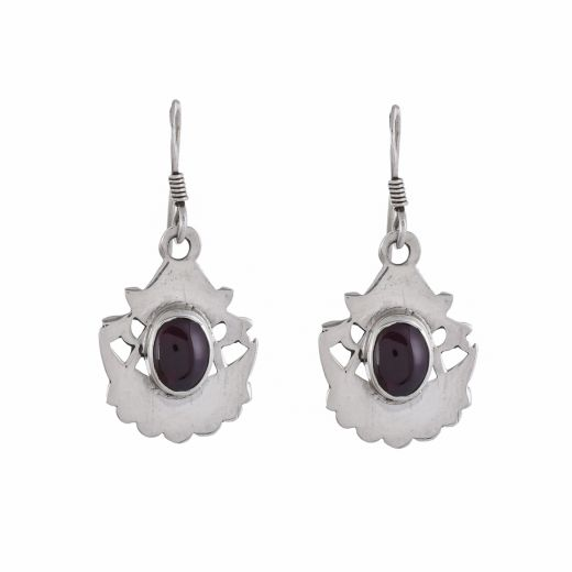 Pure silver earrings with red stone