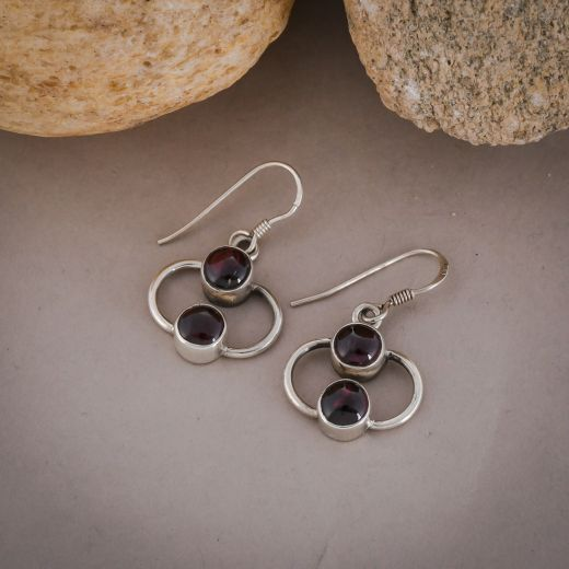 Round pink stone double layer silver earrings