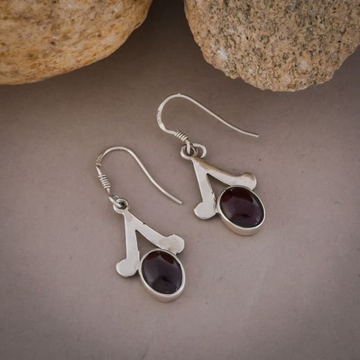 Pure silver earrings with pink stone