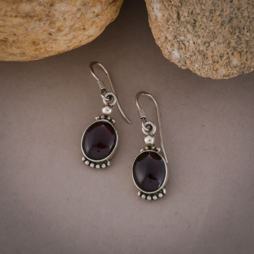Round pink stone silver earrings