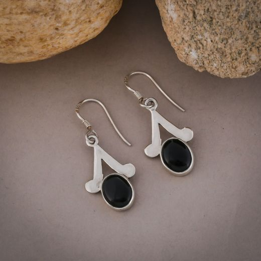 Pure silver earrings with black onyx