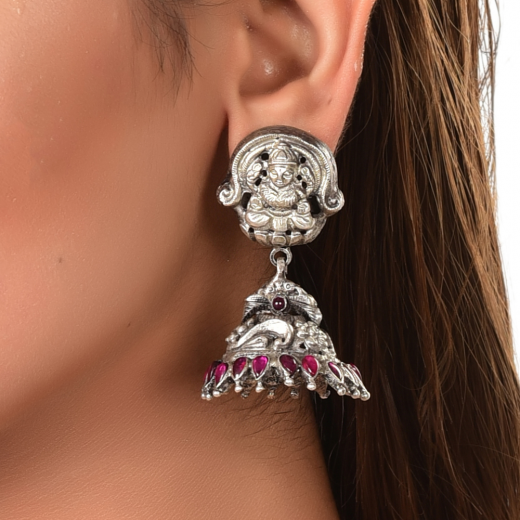 Oxidised silver jhumka in temple design with red stone