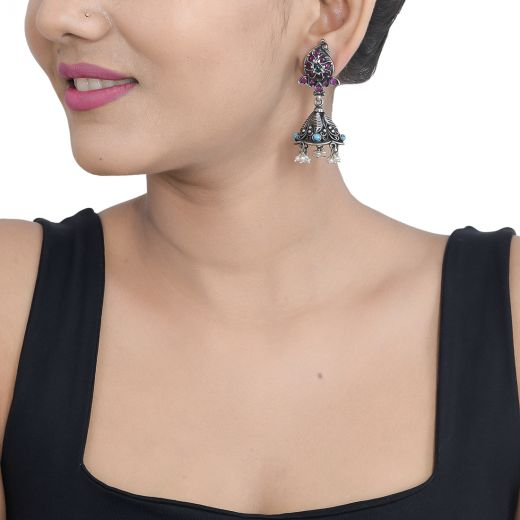 HandCrafted Pure Silver Jhumka With Turquoise & Pearl